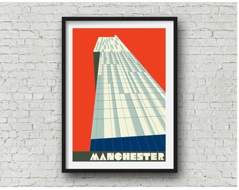 Manchester Beetham Tower Vintage Red  / Manchester Hilton Hotel Print, A4, 8 x 10 inch print