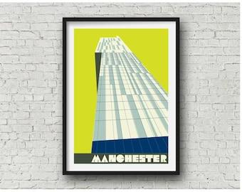 Manchester Beetham Tower Neon Yellow  / Manchester Hilton Hotel Print, A4, 8x10 art print