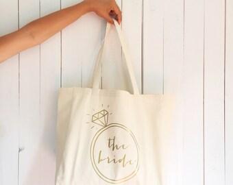 Bachelorette bag, the bride tote bag, bachelorette tote, bridal tote, honeymoon bag, bridesmaid tote, canvas tote bag, wedding favor bag
