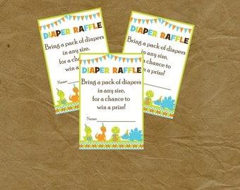 DINOSAUR Diaper Raffle INSERT Baby Shower - Instant Download