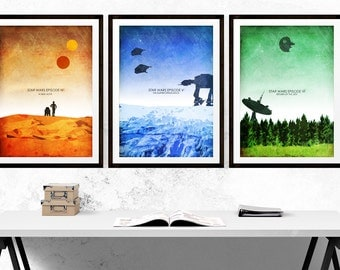 Star Wars Episode IV to VI Minimalist Art Poster Prints - Set of Three Prints (Available In Many Sizes)
