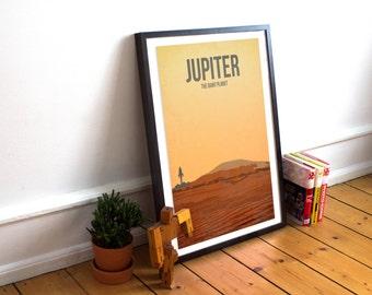 Jupiter Print - The Giant Planet - Solar System Print - Minimalist Wall Art - Nursery Art - Planet Art - Solar System Poster - Kids Wall Art