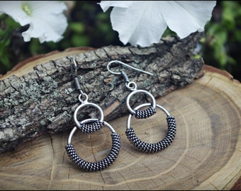 Long Silver earrings. Tribal jewelry.