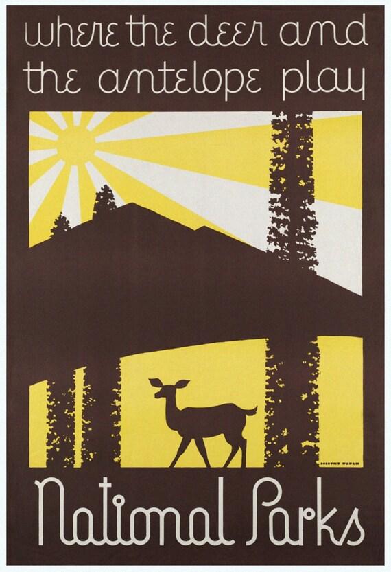 National Parks Poster, Vintage Minimalist Print.