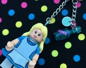 Alice in Wonderland Minifigure Keychain...Handmade using LEGO® parts