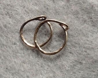 Gold Hoop Earrings,  14K Solid Gold, Piercing Gold Hoops, 10 mm id, Gold Sleepers, Small 14K Gold Hoops, 14K Gold Earrings, Hammered
