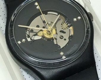 Vintage Swatch Watch Limelight 2 GB112 1986 Near Mint Condition Christmas Special Diamonds Skeleton Black