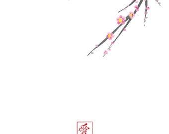 Wedding Stationery - Set of 24 Cherry Blossom Note Cards - Wedding Cherry Blossoms - Wedding Note Cards - Wedding Favors - Wedding Note