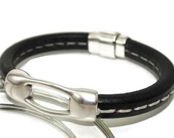 Leather bracelet mens licorice bracelet bangle bracelet black stitched bracelet mens bracelet magnetic clasp European leather LLB-14-01