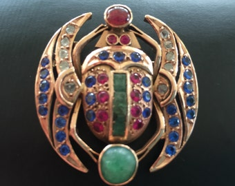 Early 20th Century Egyptian Revival 14K Scarab Brooch. Layaway welcome. Free Shipping!