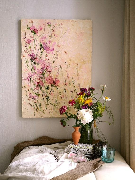 Bloem schilderen Paletmes olieverfschilderij op doek Peony
