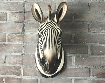 ANY COLOR Large Zebra Head Wall Sculpture // Faux Taxidermy // Safari Decor // Animal Head Wall Mount / Black & White Faux / Zoo Animal Bust