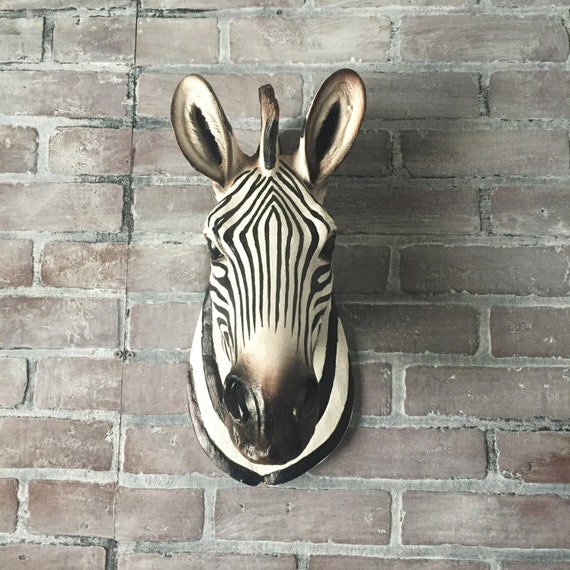Zebra Head Wall Decor : Any color large zebra head wall sculpture faux taxidermy