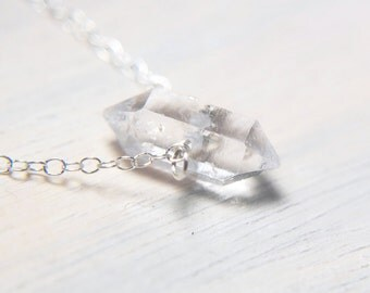 Raw Herkimer Diamond, Crystal Point Necklace, Tiny Jewelry, Small Necklace, Dainty Jewelry