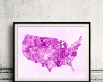 United States map in watercolor pink painting abstract splatters - Fine Art Print Glicee Poster Gift Illustration Colorful USA - SKU 1218