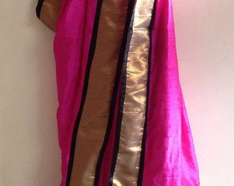Pink black and gold semi silk saree with brocade blouse