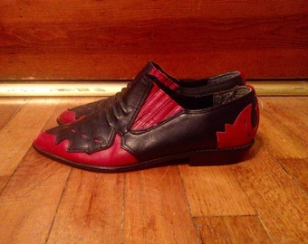 Vtg Womens MOOTSIES TOOTSIES Black & Red Leather Western Ankle BOOTS Size 7.5 Stacked Riding Heel Cowboy