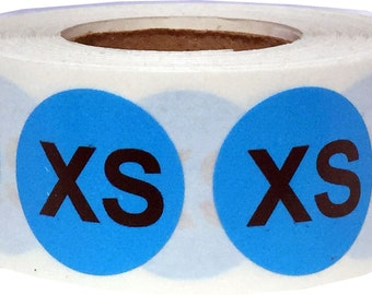 XS Blue Clothing Size Stickers - Adhesive Labels for Retail Apparel - 500 Size Labels