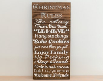 Christmas Rules Wood sign