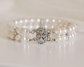 Bridal Cuff Bracelet Bridal Bracelet Two Strand Pearl Bracelet Rhinestone Bracelet Vintage Style Wedding Jewelry Bridesmaid Bracelet