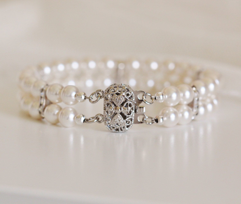 Bridal Cuff Bracelet Two Strand Pearl Bracelet Wedding Jewelry For Brides Bridal Bracelet Rhinestone Bracelet Vintage Style Wedding Bracelet