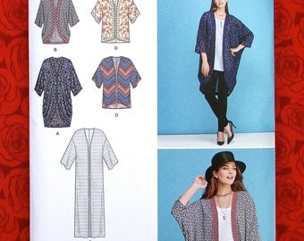 Simplicity 1108 Easy Sewing Pattern Kimono Jacket Hi Lo Coat Top, Misses & Plus Size Xxs Xs S M L xL XxL, Summer Fall Fashion Accent, UNCUT