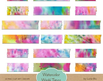 "Digital Washi Tape: ""Watercolor washi tape clipart"", watercolor clipart, paint clipart, instant download, small commercial use"