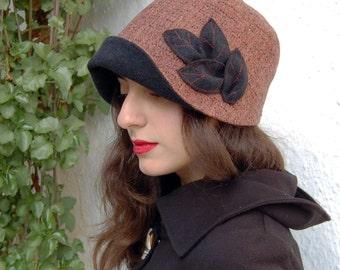 Cloche hat with large brim,Brown hat,Tweed hat,black hat, Bucket hat, 1920s style hat