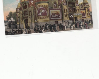 PM 1914 Color Tipped Photo Antique Postcard Corn Palace Mitchell SD