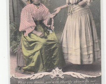 Antique Postcard Your Fortune Teller Gypsy Reading Palm, Unused, C1910