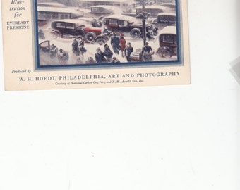 Advertising, A Wintry IllustrationFor EvereadyPrestone Urban Scene Cars And People Stuck In Snow Postcard