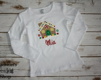 Christmas Gingerbread House Shirt - Girls Christmas Shirt - Monogrammed Christmas Shirt - Girls Holiday Shirt
