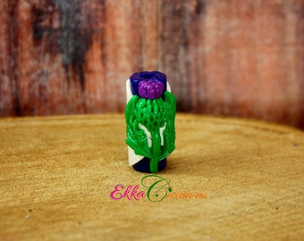 Scottish Thistle beads/Thistle Flower dread beads/Scottish Jewelry/scottish flag and thistle flower beads/hair beads/loc beads/Thistle beads