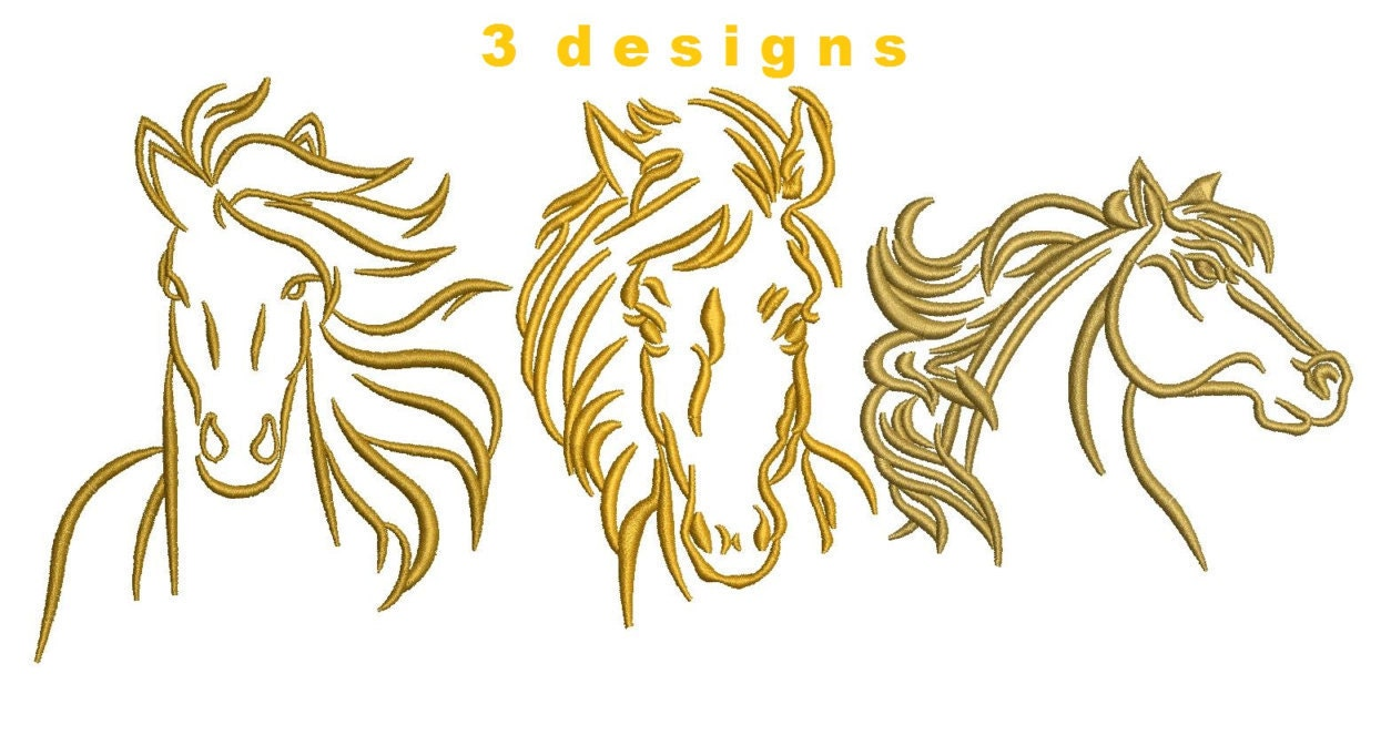Designs horse head outlined embroidery by