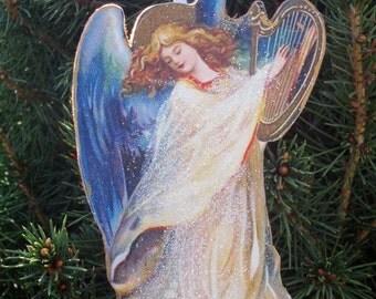 Angel Playing Harp Ornament Handcrafted Wooden Christmas Decoration, Renaissance Angel Carols Religious Nativity Scene Pastor Art Lover Gift
