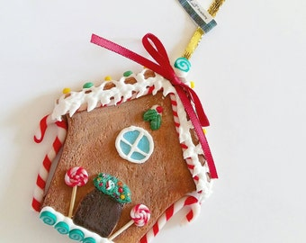 Miniature gingerbread house Christmas ornament  Christmas