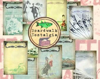 Travel Journal  Printable  Boardwalk Nostalgia  Printable Journal pages  Vintage  Scrapbook Paper  Junk Journal   Digital Journal