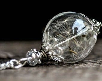 ON SALE!!  Dandelion Necklace, vial glass ,dandelion glass globe, real dandelion seeds necklace, terrarium necklace, motherday, gift