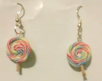 Rainbow lollipop earrings!