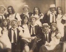 Transvestites Brothel… Berlin German Amateur Crossdresser Cabaret Comical Group Portrait… Original RARE 1920s Real Photo Postcard RPPC