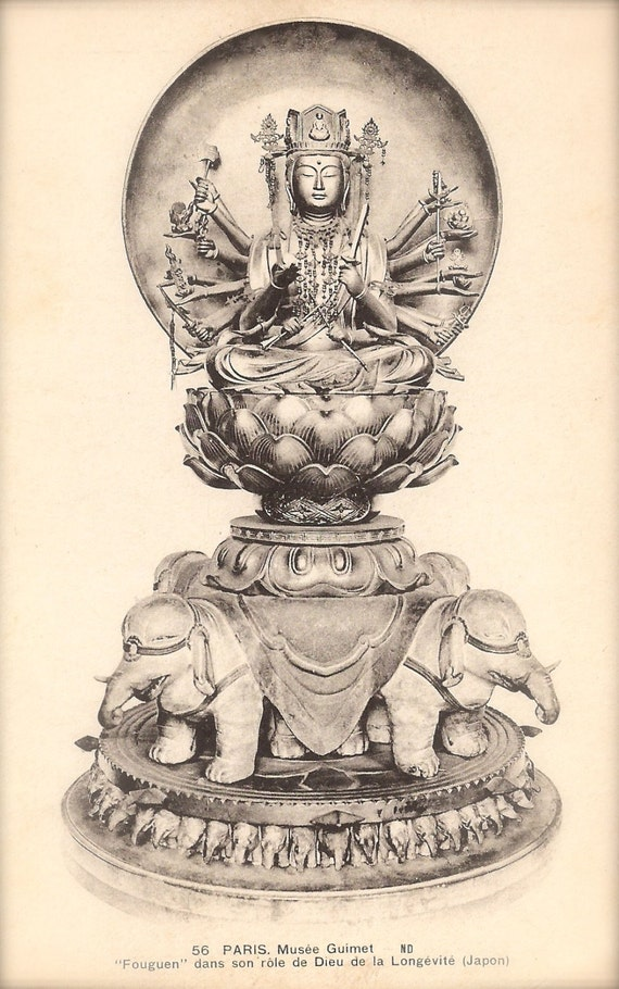 普賢延命菩薩 (Bodhisattva Fugen Enmei) Japanese Shingon Buddhism Fine Art Sculpture at The Guimet Museum Paris Original Rare 1910 French Postcard