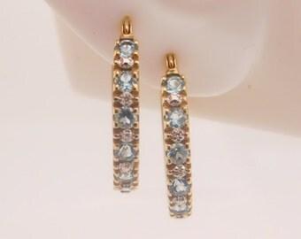 0.98 Carat T.G.W. Ladies Blue Topaz Hoop Earrings 14K