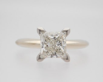 1.45 Carat Princess Cut Diamond Solitaire Engagement Ring 14K White Gold