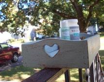 Sage Green wooden storage box/ rectangular primitive wood heart box/ table centerpiece/ Candle holder/ Home decor/ jewelry organization