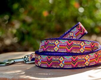 Dog Leash / Aztec Dog Leash /Pink Purple Lead / Australian Made