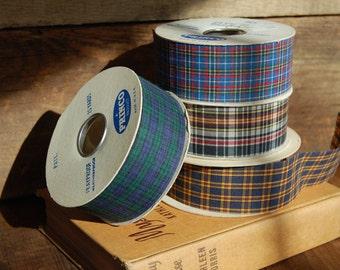 Four (4) Rolls of Vintage Tartan Plaid Craft Ribbon -- 25 Yards Each