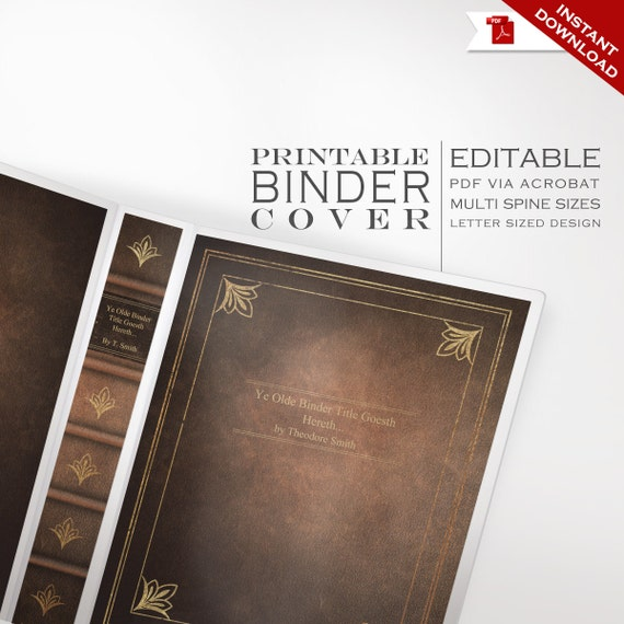 Book Cover Template Editable : Leather book binder cover printable editable antique