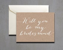 Printable Kraft Paper Will You Be My Bridesmaid Card - Instant Download Greeting Card - Will You Be My Bridesmaid Instant Download - Card