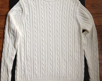Ivory Cotton Cable Knit Sweater