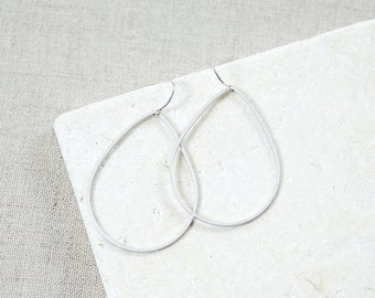 Matte silver open teardrop earrings -- Ready to ship S A L E